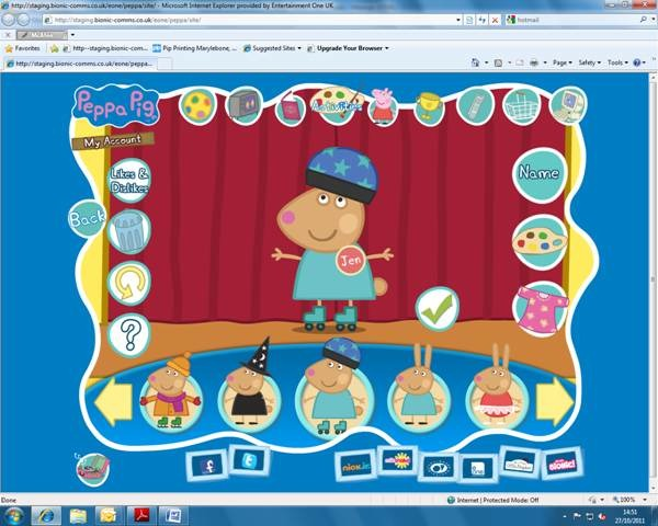 New look to peppa pig website and others
