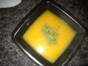 Served Carrot and Coriander Soup